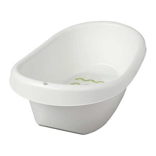 IKEA LÄTTSAM Bath Baby Bath Tub in White with Slide Protection Inside and...