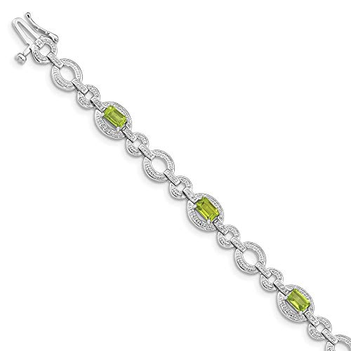925 Sterling Silver Diamond Green Peridot Oval Link Bracelet 7 Inch Gemstone Fine Jewelry Gifts For Women For Her