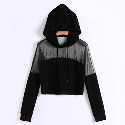 Sweat BaZhaHei Jogging Noir à Respirant Tops Automne Manche Sport Mode Shirts Capuche Chemise Longue Yoga Solide d'épissure Pull Hiver Femmes Uwqff