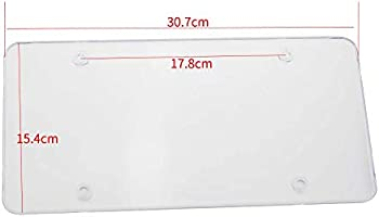 Etopar 2 X Heavy Duty Flat Clear Automotive Waterproof Anti Dust License Plate Cover Frame Shield Bubbled Car Auto Unbreakable Protect