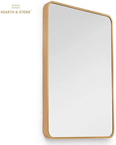 Hearth Stone Gold Mirror, Bathroom Mirror for Vanity Large Gold Framed Mirror Gold Wall Mirror, Gold Mirrors for Wall Decor Gold Vanity Mirror Gold Antique Mirror Gold, Rectangle 22×28