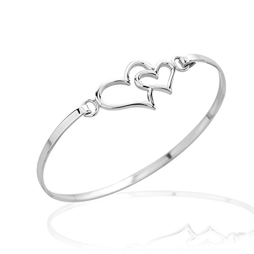 925 Sterling Silver Thin Line Double Hearts Symbol of Love Bangle Bracelet, Hook Closure Jewelry