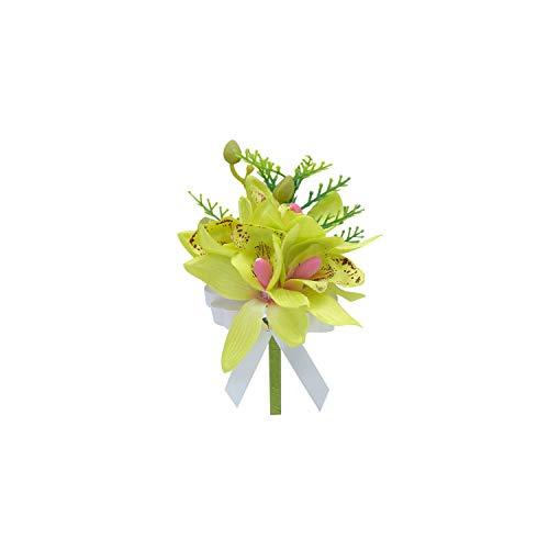 Green Orchid Boutonniere - Fashion-LN Artificial Silk Orchid Wrist Corsages Wedding Bride Bridesmaid Wrist Bracelet Party Prom Decor,Green Boutonniere
