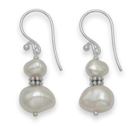 Double en Argent 925/1000–Perles d'eau douce en forme de goutte avec perles Argent/Blanc-Taille :  20 cm x 9 mm 7025WH Coffret cadeau inclus Argenté