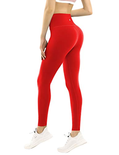 Yoga Pants Running Pants High Compression For Yoga High Waist Moisture Wicking UPF30+ Non See-Through Fabric,Bwwb009 Scarlet,Small
