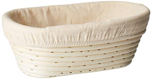 (10 x 6 x 3.5 inch) Oval Bread Banneton Proofing Basket & Liner SUGUS HOUSE Brotform Dough Rising Rattan Handmade rattan bowl - Perfect For Artisan