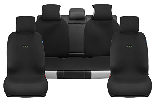 (Sojoy Universal Four Seasons Full Set OF Car Seat Cover and Cushions (Classic Black))