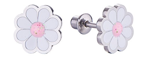 Screw Back Flower Daisy Stud Earrings for Kids, Baby, Toddler, Little Girls with Surgical Steel Post for Ultra Sensitive Ears with Secure Safety Screwback
