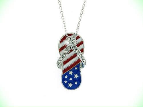 AMERICAN FLAG Patriotic Red White Blue Clear Crystal Flip Flop Sandal Necklace For Women (Red White And Blue Crystal Flip Flops)