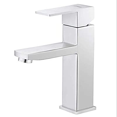 ZXUE Basin Basin Bathroom Single Hole Household Faucet Stainless Steel Brushed Hot and Cold Water-tap