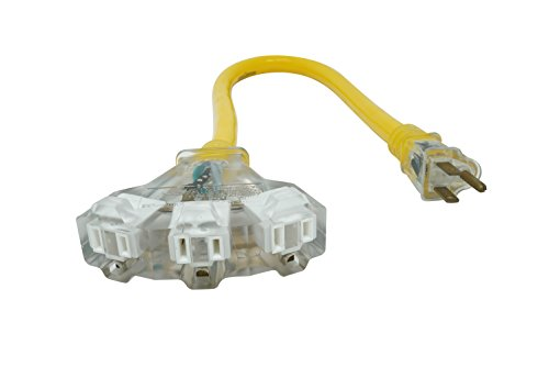 Yellow Jacket Extension Cord With 3-Outlet Lighted Power Block (2 Feet, 12/3 Heavy-Duty Contractor Grade, 15 Amp)