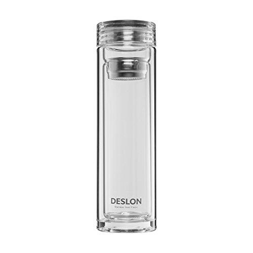 Use Bottle (DESLON Borosilicate Double Layer Glass Bottle with Filter Leak Proof Heat Resistant Office Cups 12oz)