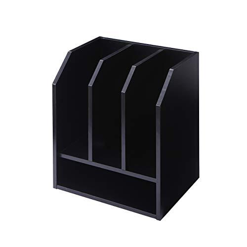 TAVR Black Wood Desktop Organizer Stand File Mail Sorter Holder with Vertical Horizontal Storage for Home Office School DO1002 by TAVR Furniture