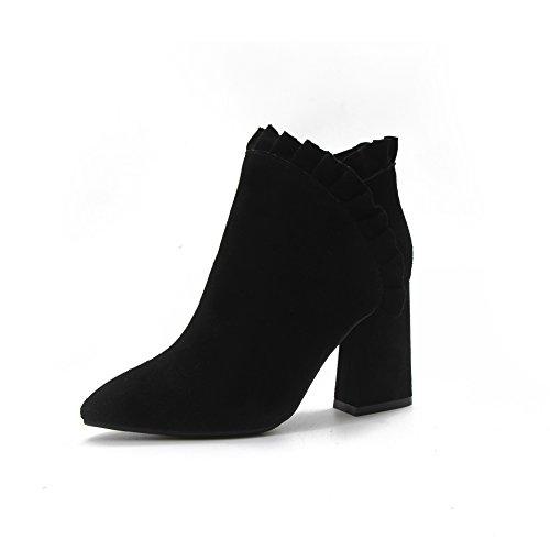 KPHY-Suede Zapatos De Tacon Alto Zapatos De Tacon Con Lado Suede Zapatos De Punta Mujeres Algodon Black Treinta Y Siete Thirty-eight