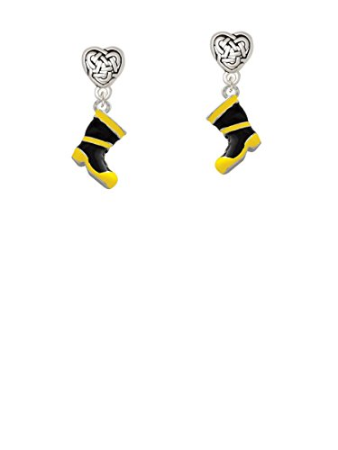 Black and Yellow Firefighter Boot - Celtic Heart Earrings by Delight Jewelry