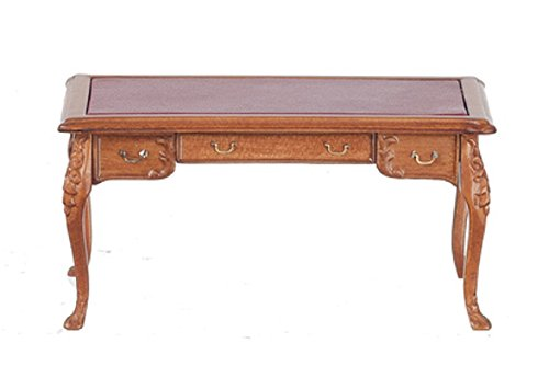 Melody Jane Dollhouse Leather Top 3 Drawer Desk Walnut Miniature JBM Furniture by Melody
