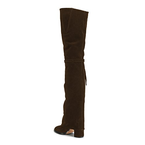 Thigh Boots Pull Retro 4 FSJ Bowknot 15 Knee Stretch Brown Shoes High US Chunky Women On Heels Over the Size xISwPE