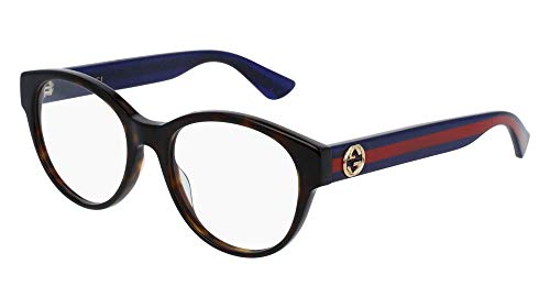 Gucci GG0039O Optical Frame 003 Havana Blue Transparent 52 ()