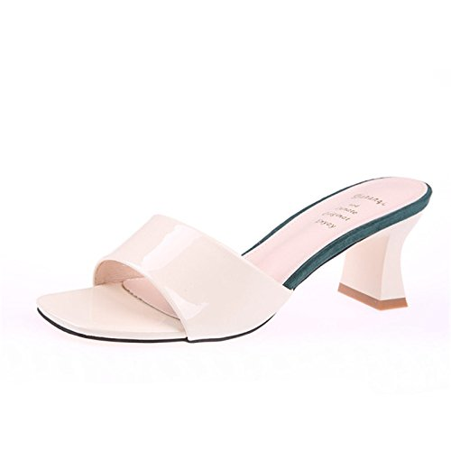 Cool Laca Beige Cm Zapatos KPHY Desgaste Alto Heels Zapatillas Verano Tacón Arrastre De Medio Tacon De Rough 6 Arrastre Simple wX4qUw