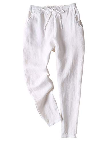 Gihuo Women's Elastic Waist Drawstring Solid Linen Pants Tapered Trousers with Pockets