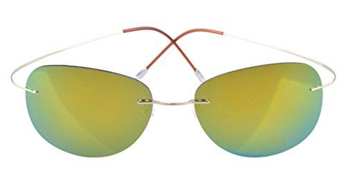 Eyekepper cerclees Titanium Cadre Style Aviateur Pilote lunettes de soleil polarisees Dore-bleu NmXQe4