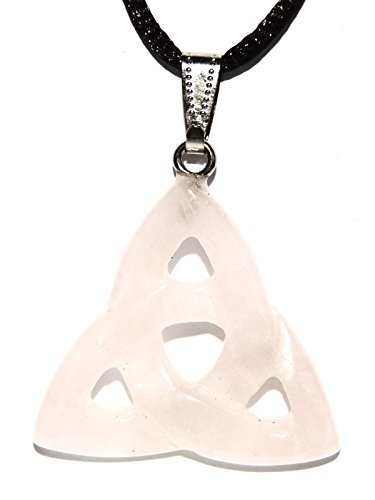 Steampunkers USA Power Pack Series - 30mm Triquetra Celtic Knot Rose Quartz Pink - 20-22 Inch Adjustable Black Cord - Crystal Gemstone Collectibles Carved Necklace Handmade Charm