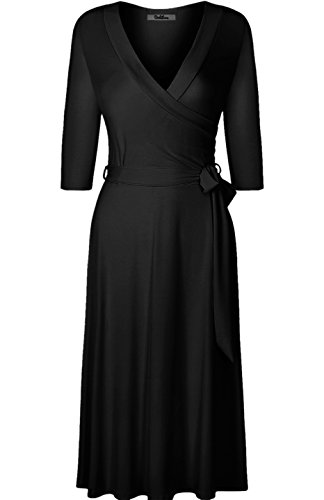 V-neck Camisole Nordstrom - BodiLove Women's 3/4 Sleeve V-Neck Solid Knee Length Wrap Dress Black S(DJ2876-S)