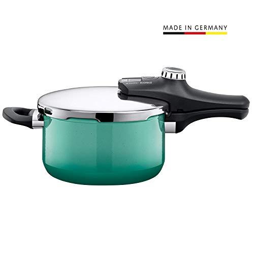Silit Sicomatic econtrol Schnellkochtopf 4,5l ohne Einsatz, Silargan Funktionskeramik, 3 Kochstufen Einhand-Drehregler induktionsgeeignet, spülmaschinengeeignet, grün, Ø 22 cm