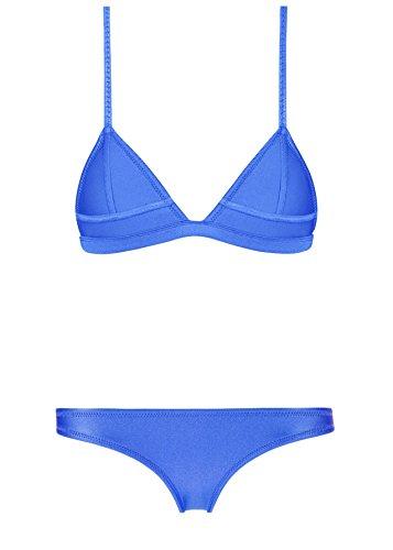 Skyjoy Women Neoprene Bikini In Bright Color Neon Binding Swimsuit Swimwear (S:US0-2, blue#2)