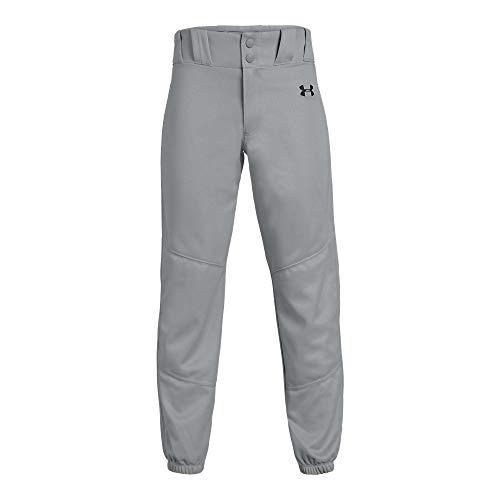 Under Armour Boys Utility Relaxed Closed Baseball Pant, Baseball Gray (080)/Black, Youth Medium