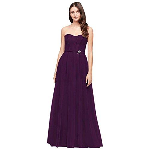 Mikado Dress Tulle Style Long David's Bridal Bridesmaid Plum OC290026 fZR6wpxq