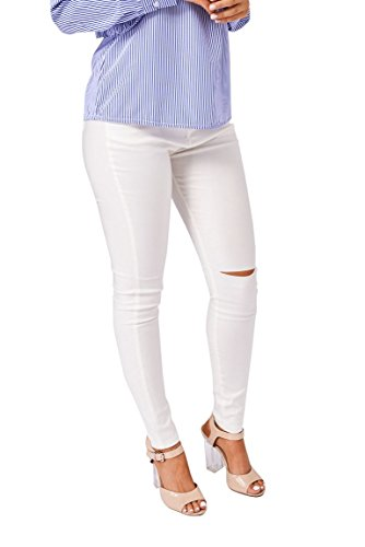 Ivory Faux Leather (Martildo, High Waisted Skinny Trousers In Faux Leather Cream XS)