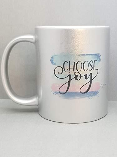 4851acc8f65 Amazon.com: Choose Joy Watercolor Metallic Silver Sublimated Mug. 2 Sided  11 oz.: Handmade