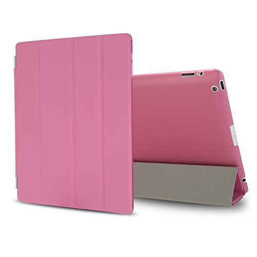 Besdata Ultra Slim Lightweight Smart Stand Cover Auto Wake/Sleep Function & Translucent Back Case for Apple iPad 2 / iPad 3 / iPad 4 Bundle with Screen Protector, Cleaning Cloth & Stylus (Pink)