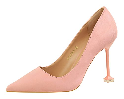 T&Mates Womens Elegant Pointed Toe Slip-on Low Cut Suede Stiletto High Heel Pumps Shoes (5.5 (Cute Construction Worker Costumes)