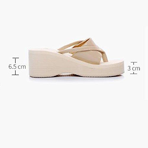 LIXIONG Portátil 6.5cm zapatillas de verano femeninos de tacón alto zapatillas de tacón alto Moda zapatos de la playa ocasional -Zapatos de moda ( Color : 1002 , Tamaño : 39 ) 1002