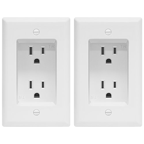 TOPGREENER Recessed Duplex Receptacle, Tamper-Resistant Receptacle, 125VAC/15A, Standard Size 1-Gang, White (2 Pack) TG15RD31-2PCS