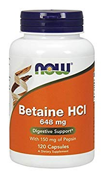 - Now Foods Betaine HCl, 648 mg , 120 Capsules (Pack of 5)