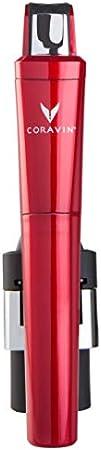 Coravin – Model Six Core Sistema de Preservación de Vino - 2 Cápsulas de Gas y Tapón de Rosca – Color Rojo Cereza