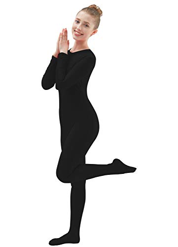 Ensnovo Womens Lycra Spandex One Piece Unitard Full Bodysuit Zentai Suit Costume Black L