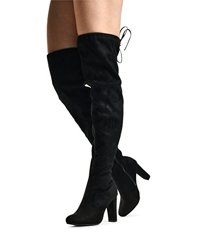 Women's Elaine Over the Knee Boot - Drawstring Block Heel Pointy Round Toe - Stretchy Snug Fit OTK Boots Black SU 8