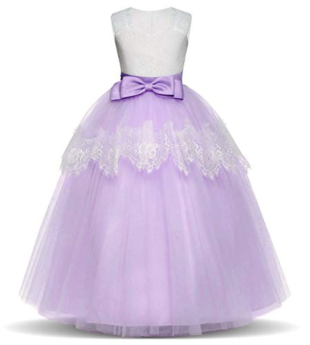 Jurebecia Girls Prom Ball Gown Kids Lace Tulle Wedding Party Dresses Girls Pageant Formal Dress 5-14 Years Purple 3 Size 8 - Pageant Wedding Prom Gown