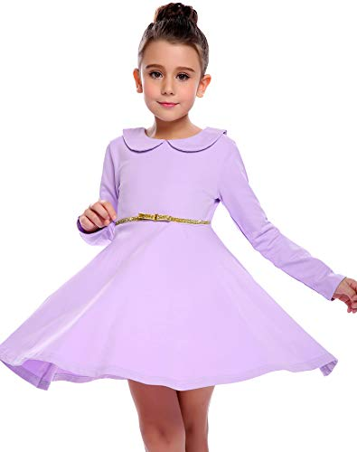 Price comparison product image Arshiner Girls Long Sleeve Doll Collar Dress Solid Color A Line Peter Pan Collar Cotton Dress, Purple, 130(Age for 8-9 years)