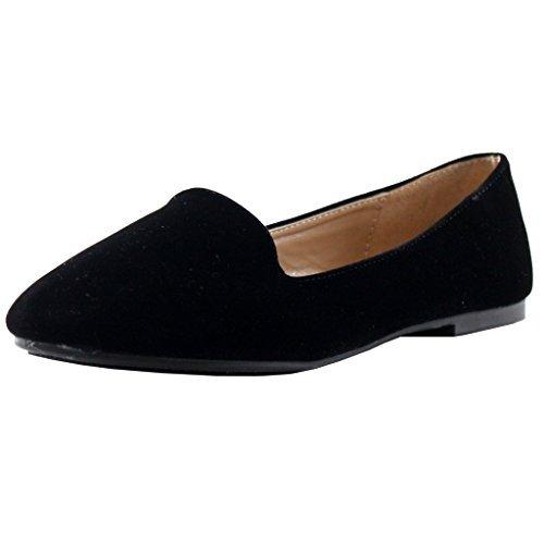 Forever Diana-81 Ballet Loafer-Flats, Black Suede, 8.5