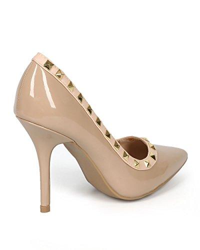 Single Sole Toe Stiletto Women CH60 Pointy Patent Pump Stud Natural wxqXwZIT