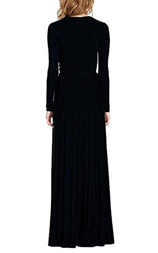 Moollyfox Mujer Cuello En V Manga Larga Color Sólido Vestido Largo Negro