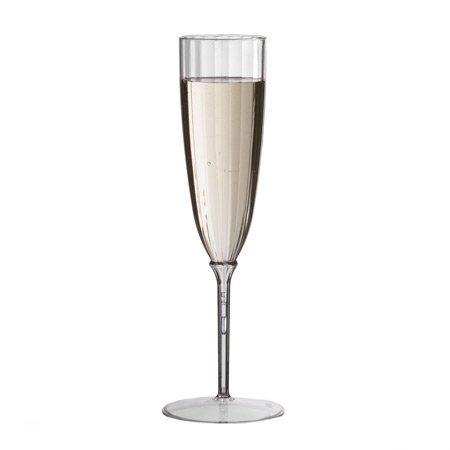 Plexware 5 Oz Clear Premium One Piece Plastic Champagne Flutes 8/pk