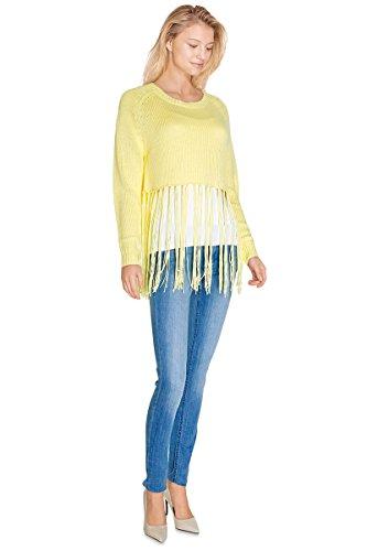 Cherry-Paris PROMO-Jersey con Crop Top Alizé Flecos largos corte recto y cintura alta, color blanco amarillo