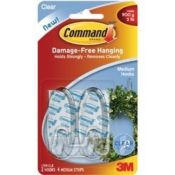 Bulk Buy: 3M (3-Pack) Command Medium Hooks Clear 2 Hooks and 4 Strips 17091