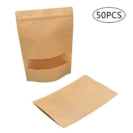 50 PCS Bolsas de papel kraft con ventana transparente, con ...